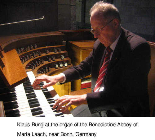 Klaus Bung at the organ of the Benedictine Abbey of Maria Laach, near Bonn, Germany